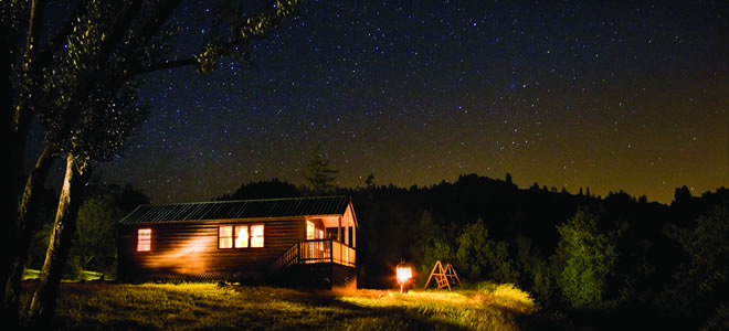 Photo of a Deluxe Cabin at Night