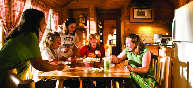 Photo of people in a cabin on a Weekend Getaway